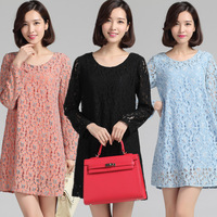 L~4XL!! New 2014 Autumn Ladies Korean Fashion Plus Size XXXXL Elegant Sweet Long-sleeve Flower Lace Loose Brand Short Dresses