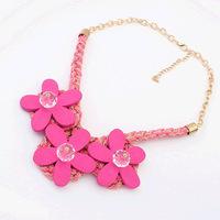 Ribbon Flax Style neon chunky choker necklace statement necklaces & pendants lady women jewelry JZ145