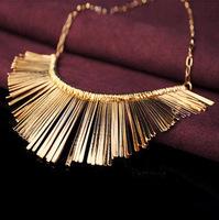 Tassel fan Style fashion trend gold statement necklaces & pendants lady women jewelry JZ137
