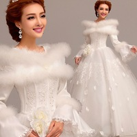 Word Shoulder Bride Wedding Dress Lace Long-Sleeved Cotton Free Shipping-China Sales