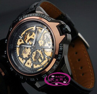authentic  skeleton transparent mechanical movement gold  face  all black  leather strap wrist watches for men drop ship