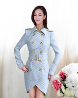 Blue White Polka Dot Slim temperament double-breasted thin women's winter coat
