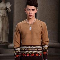2014 the new autumn winter men's fashion  Vintage Style Bohemia  jacquard O-Neck  Pullovers sweater Y0320