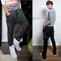 2014  jogger pants,Lanyard decoration harem feet pants, men's banana dance pants,low drop crotch sweatpants for men,X38,28-35