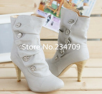 Free shipping, 2014 New Sexy style high heel PU Mid Calf boots Ladies' lovely Fashion shoes 3 colors black white and gray pumps