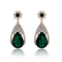 Free shipping top quality fashion jewelry gold plated drop earring big luxury green crystal/rhinestone earrings for women cc