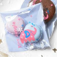 Free Shipping Wholesale 500pcs/lot 10x10+3cm elephant Self Adhesive Seal Gift Bags / Sugar Bags Baking Packaging