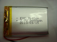 Samples support 704060(7*40*60mm) 2000mAH 3.7V rechargeable li-polymer battery cell with PCM and wires,50pcs/lot