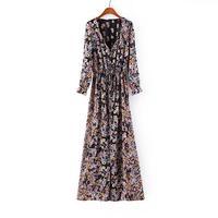 Fashion Women Dress Zara2014 Summer Chiffon Print Bohemian Beach Long Dress V Neck Long Sleeve Side Split Maxi Shirt Dress