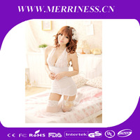 Hanging type corset low V neck appeal pajamas white household suit garters sentiment Sexy lingerie