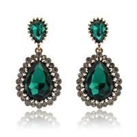 Green gem sex star style fashion bingbing earrings drop earring,vintage gold luxury crystal/rhinestone earrings for women