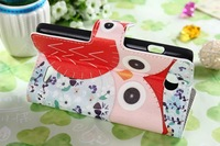 New 2014 Cute Cartoon Owl Pattern Flower Leather Case For LG L90 D401 D405 D405N Phone Cases Book Wallet Cover with stand