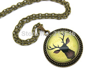 10PCS Stag Antlers, Green Necklace, Deer Necklace Glass Cabochon Necklace