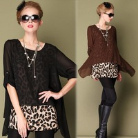 2014 New Spring Summer Plus Size Blouses Leopard Print Sheer Sleeve Loose Chiffon Shirt Women Blouse