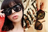 Retro style sunglasses for men and women star models black square sun glasses leopard eyeglasses Free Shipping #B-19