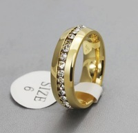 New Excellent 18K Gold Plated Titanium Steel Ring Comfort Fit Jewelry Unisex Wedding Band Shinning Crystal Drill Ring Size 5-11