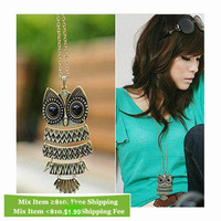 Free Shipping, F4196 Women Girl men Owl animal eye shiny Antique bronze Bohemian Chain Pendant necklace, High quality