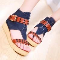 Summer sandals female wedges platform shoes canvas shoes female shoes young girl flip-flop