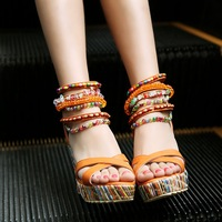2014 Bohemia sandals female platform open toe high-heeled shoes wedges women's sweet beaded casual shoes