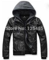 2014 Hot Men's Slim Top Designed Cotton PU Leather Hoody Jacket Coat Black