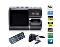 HD 1080P Dual Lens Car DVR I1000 G-Sensor + MOV Video Recorders + H.264 + 140 degree ultra wide angle lens Camcorder Car Camera