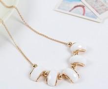 Geometric white cameo gold chain necklace/new fashion gypsy boho jewelry women's necklaces with stones/neckless/collier/jewlery