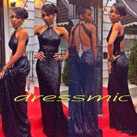 2014 New Black Long Sequins Beads Sexy Evening Dresses Floor-length Halter Mermaid Prom Dresses Custom Size QB-60