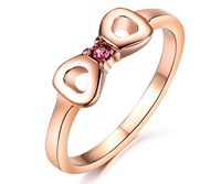 2014 Unique Style Bowknot Women Ring Titanium Jewelry Pink Crystal Ring 18K Rose Gold Plated Titanium Ring Wedding Ring
