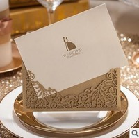 Promotion 50 pcs/lot Gold Hollow Lace Wedding Invitation Card with Envelope,Seal,blank inside card Party supply CW1016