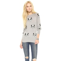 Panda head pattern jacquard sweater round neck long sleeves light gray for wholesale and free shipping haoduoyi