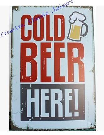 Free shipping Retro Beer Sign Wall Decor Vintage Art Metal Sign Home Bar Pub Man cave ,30x20cm(China (Mainland))