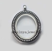 10pcs 30mm strong magnet vintage oval glass locket for floating charms,no charms