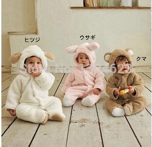 [해외]핫 세일 남자와 여자 아기 겨울 발 토끼 동물 크랭크 테디 아..