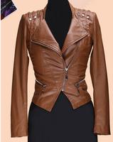 Brown Oblique zipper PU leather jacket women slim street high quality faux leather jackets coat womens female fashion outerwear