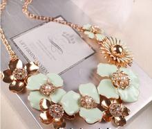 Luxurious elegant flower necklace/enamel jewelry high fashion designer brands 2014 new women necklaces/joias/kolye/sautoir/joyas