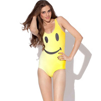 Big Smile Face Yellow One Pieces Swimsuit Women's Jumpsuit Tops