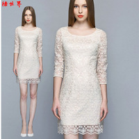 Organza embroidery one-piece dress 2014 women's ol nude color slim hip