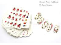 Nail Art 55Sheets/Lot 55 Designs Flower Water Nail Sticker Nail Water Transfer Decals free shipping 4UNL212