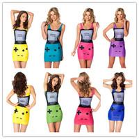 2014 Summer New Items Fashion Game Over Digital Print Women's Tank Dress Classic Female Slim Dresses