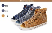 Fish mouth canvas shoes in summer Fashion breathable shoes rivets cloth sandals Leisure flat shoes