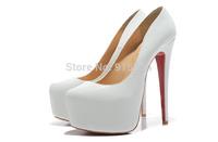 Free shipping white women platform pumps 16cm high heels dropshipping genuine leather high heel shoes