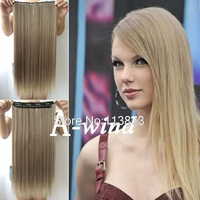 2014 New 24inch 60cm Long Straight clip in hair extension Synthetic hair piece women's hair fashion 12/613 free shipping