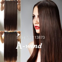 2014 New 24inch 60cm Long Straight five clip in hair extensions Synthetic hair piece women's hair hair styling Dark Brown
