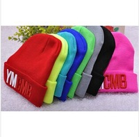 2014 vogue Sport gorro hats for women winter Warm hat  mens hats  YMCMB Candy color hip-hop cap Street dance Beanie Knitted