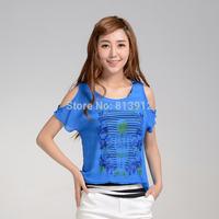 Faux two piece pattern pullover stripe chiffon shirt 2014 summer top 1