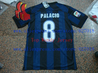 A+++ Top Men Thai Italy Inter Milan Home Black Blue Thailand 8# Palacio Futbol Jersey Play Version Shirt Sweatshirt Rubber Patch