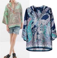 Fashion Women 2014 New Women Blouses Ladies' Vintage Totem Paisley Print Blouse Cashews Pattern V neck Casual Tops Loose Shirt