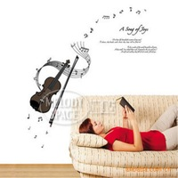 Free shipping pvc wall stickers TV backdrop violin DIY Wall Stickers-DM57-0001