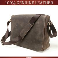 Promotion! NEW 2014 Crazy Horse Men's Leather bags 100% Real Vintage Genuine Leather Messenger Shoulder bag men briefcase bags