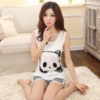 Casual Cute Summer Women Panda Pajamas Set Cartoon Sleepwear Lovely Nightwear Striped Shorts Dress Pants Suit 4 Style A235